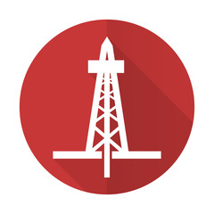 drilling red flat icon