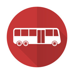 bus red flat icon public transport sign