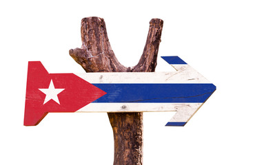 Cuba Flag wooden sign isolated on white background