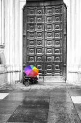 Colorful umbrella. Black and white image