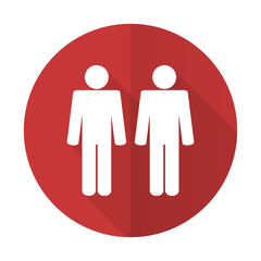 couple red flat icon people sign team symbol