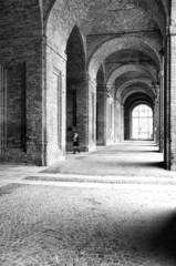Italian old city centre, raining day. Black and white photo