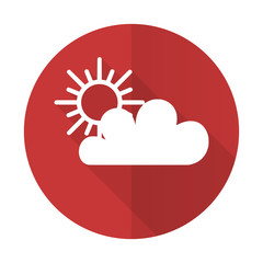 cloud red flat icon waether forecast sign
