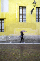 Italian old city centre, raining day. Color image
