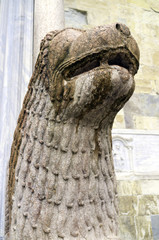 Parma Cathedral, column-bearing lion detail. Color image