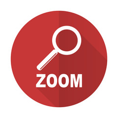 zoom red flat icon