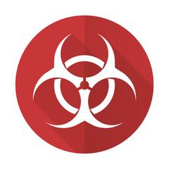 biohazard red flat icon virus sign