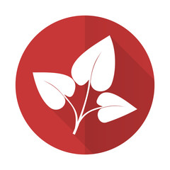 leaf red flat icon nature sign