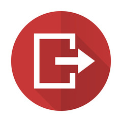 exit red flat icon