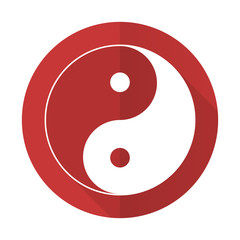 ying yang red flat icon