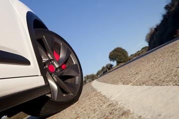 Wheel on a road