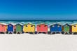 Leinwandbild Motiv Bath houses in Muizenberg, Cape Town
