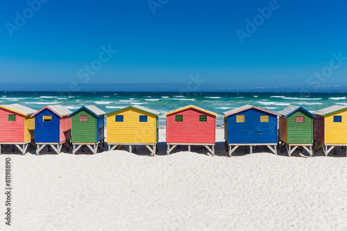 Canvas Zuid Afrika Bath houses in Muizenberg, Cape Town