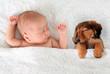 Leinwandbild Motiv Sleeping baby and puppy