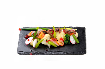 appetizer with fish and vegetables