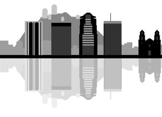 Tucson skyline background in editable vector file