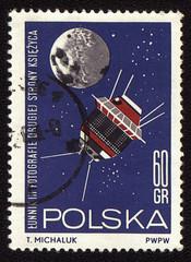 Postage stamp from Poland with soviet spaceship Luna-3
