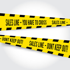 Comic yellow caution line for sales