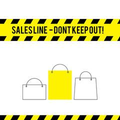 Comic caution line for sales