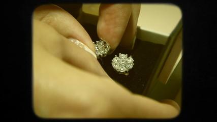 Close-up. Elegant Bridal Earrings In a Box