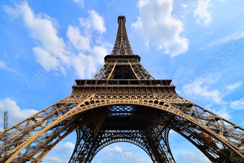 Iconic Eiffel Tower, Paris, France with vibrant blue sky