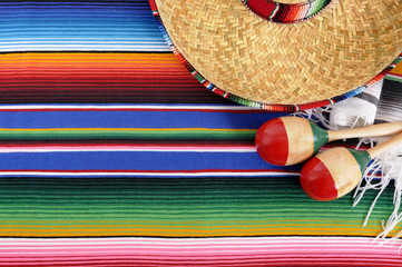 Mexican background with traditional blanket and sombrero © david_franklin