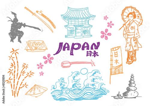 Japan Cultural hand sketch collection 2 Vectors