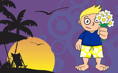 surfer kid cartoon expression background