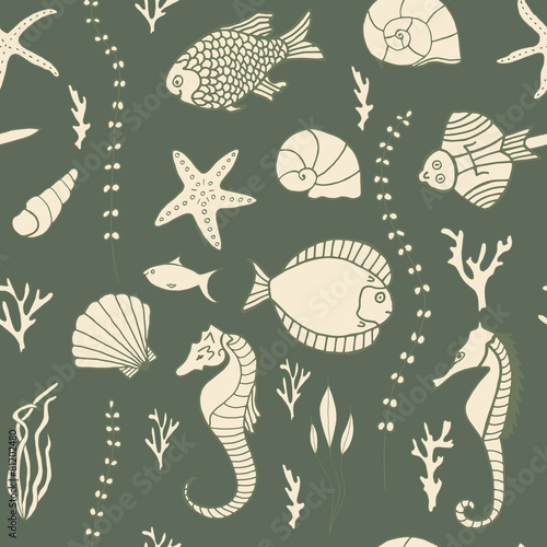 Seamless pattern with hand drawn fishes - 81202480