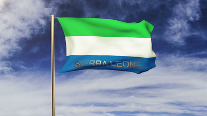 Sierra Leone flag with title waving in the wind. Looping sun