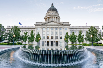Unique view of the Utah capital building and fountain
