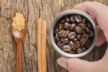 Coffee Beans on Wooden Backgrounds