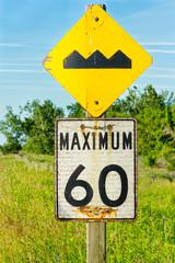 Road signs Bump and Maximum 60