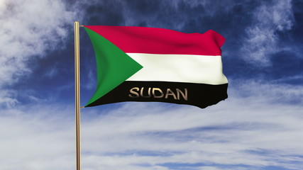 Sudan flag with title waving in the wind. Looping sun rises