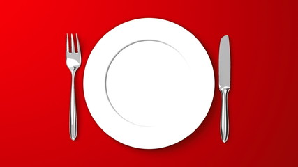 Top View Of Cutlery And Dish On Red Background