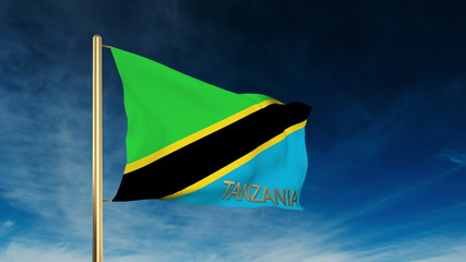 Tanzania flag slider style with title. Waving in the wind with