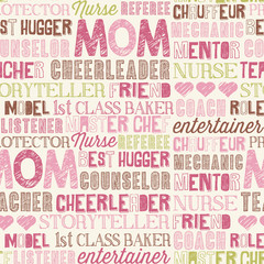 Mother's Day seamless word pattern