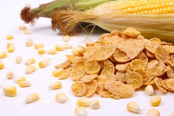 Cornflakes with corn and corn maize