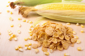Pile of cornflakes with corn maize and grain