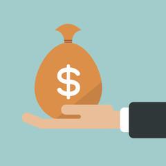 Hand holding money bag, vector illustration