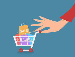 woman hand with cart shopping concept vector illustration