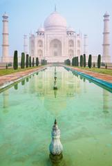 Taj Mahal in morning mist