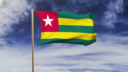 Togo flag waving in the wind. Green screen, alpha matte