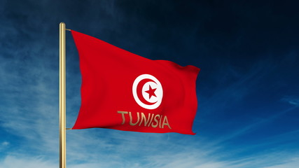 Tunisia flag slider style with title. Waving in the wind with