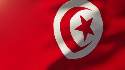 Tunisia flag waving in the wind. Looping sun rises style