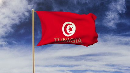 Tunisia flag with title waving in the wind. Looping sun rises