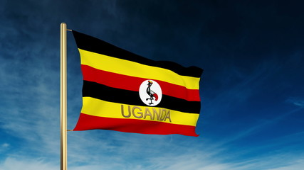 Uganda flag slider style with title. Waving in the wind with