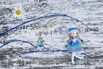 открытка детская с куколкой