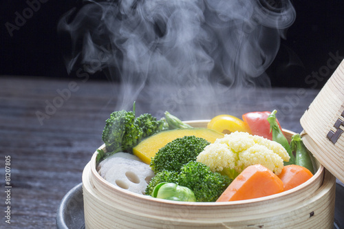 Fotobehang Groenten 蒸し野菜