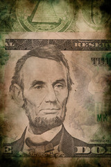 Lincoln on five USA dollar banknote grunge vintage style